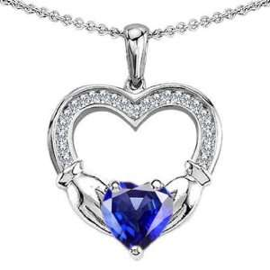 CANDYGEM 14k White Gold Plated 925 Sterling Silver Hands Holding Heart