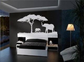 African Safari Elephants Vinyl Wall Decal   Black Explore