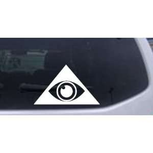 Illuminati Eye Masonic Car Window Wall Laptop Decal Sticker    White