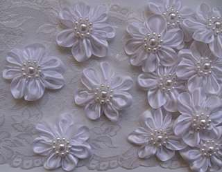 White Satin Beaded Ribbon Flowers Appliques  Lots 4pcs