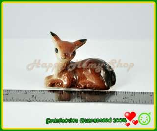 Miniature Porcelain​ Figurine Ceramic Animal Statue Cute Brown Deer