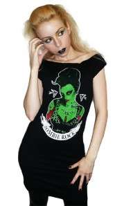 TOO FAST ZOMBIE ROCKABILLY PSYCHOBILLY PINUP HORROR TUNIC TOP DRESS S