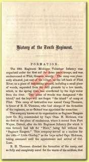 10th Regiment Michigan Volunteer Infantry   Civil War History   Book