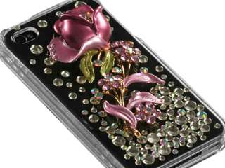 RHINESTONE 3D BLING FACEPLATE HARD CASE COVER APPLE IPHONE 4 4S FLOWER