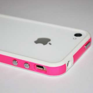 White Hot Pink Hard Bumper Case Cover W/ Metal Buttons For Apple