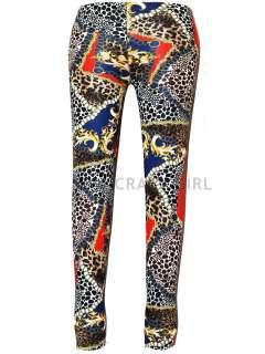 New Womens Girls Paper Animal Leopard Chain Print Full Length Leggings