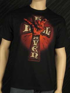 Officially Licensed HEAVEN AND HELL T Shirt Fist Cross Mens Band Tee