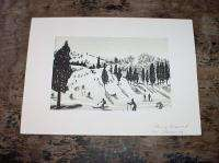 Orig. Japanese Woodblock Print Skiing Ground by Okuyama