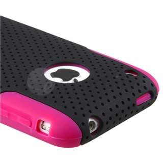 Hybrid Purple Rubber Soft Skin/Black Meshed Hard Case Cover For iPhone