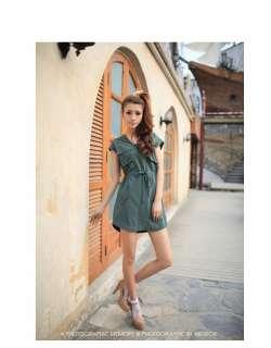 Women Pockets Drawstring Shirt Dress,9727K,BEIGE, sz M BNWT