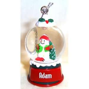 Adam Christmas Snowman Snow Globe Name Ornament