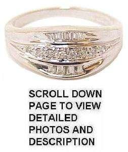 Stunning 14K White Gold Diamond Wedding Cigar Band Ring