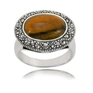 Sterling Silver Marcasite and Tiger Eye Oval Ring, Size 6