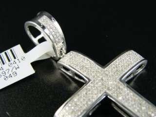 MENS WHITE GOLD FINISH PAVE DIAMOND CROSS PENDANT 1.30