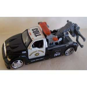 Wrecker Tow Truck in Color Black/white with Highway Patrol Logos: Toys