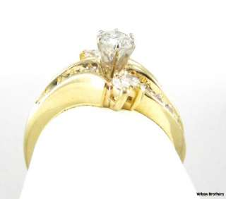 DIAMOND Engagement RING   14k Yellow Gold Rounds & Marquises