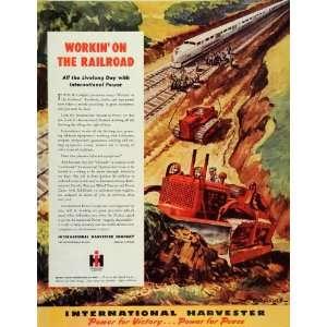 1945 Ad Railroad Work International Harvester Tractors