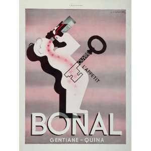 1935 French Ad Bonal Aperitif A. M. Cassandre Art Deco