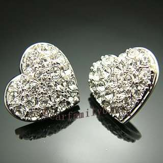 18k Gold Gp Swarovski crystal heart earrings studs E217