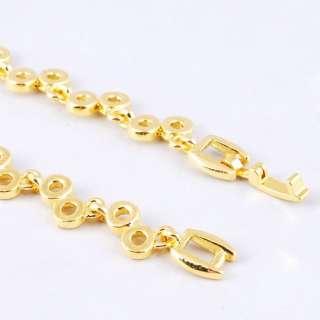 Blue Ringed Bead Link Czekh Rhinestone Crystal Golden Necklace