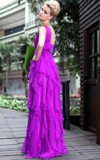 purple stylish woman cute sexy one shoulder long gentlewomanly evening