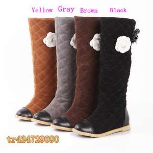 2011 New Arrival Womens Knee High Flowered Boots Low Heel Shoes US