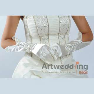 Satin Elbow Wedding Gloves with Buttoned Embellishment (ST110071)