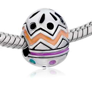 PUGSTER BEAD COLORFUL EGG EASTER DAY SILVER TONE CHARM FOR BRACELET
