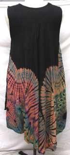 Tie Dye Sleeveless RAYON Tunic LONG TOP Shirt Dress Gypsy 2XL Plus 1X