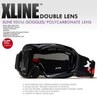 XLINE 8056 SKI SNOWBOARD GOGGLES ANTI FOG DOUBLE LENS