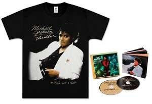 MICHAEL JACKSON THRILLER BLK T SHIRT LG + 2CD COMBO SET