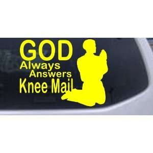 God Always Answers Knee Mail Man Christian Car Window Wall