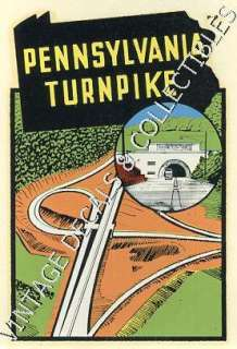 VINTAGE PENNSYLVANIA TURNPIKE STATE SOUVENIR TRAVEL WATER DECAL