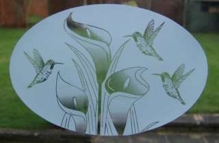 15x23 FLOWERS & BIRDS Etched Glass Window Decal Cling