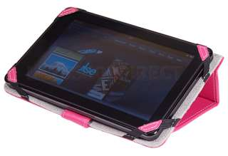 WAY Hot Pink Leather Stand Folio Case Cover for  Kindle Fire 7