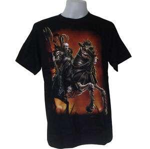 WARRIOR HORSE SKULL TATTOO ROCK grim BIKER T SHIRT
