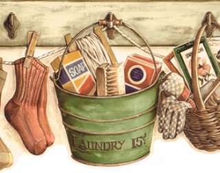 DIE CUT ANTIQUE COUNTRY LAUNDRY ROOM & GARDENING Gr BUCKET Wallpaper