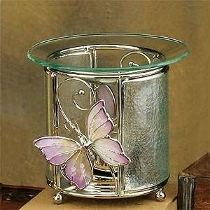 Pink Butterfly Wire Design Glass Oil Burner