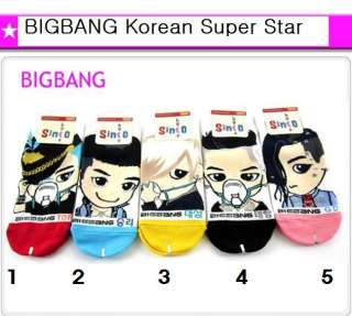 5Pairs BIGBANG Korean Super Star Character Socks