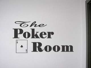 THE POKER ROOM Vinyl Wall Quote Game Room Lettering Home Decor Sticker