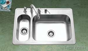 Houzer Legend LHD 3322 1 33 X 22 80/20 Double Bowl SS Kitchen Sink