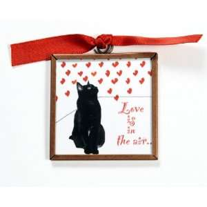 Love Is In The Air Kitchen Black Cat Magnet