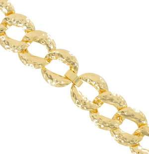Vintage Necklace Big Chunky Yellow Gold Tone Chain Hammered Link