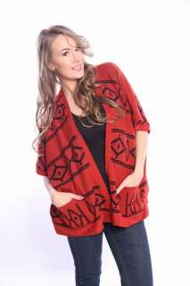New Womens Knitted AZTEC PATTERN PONCHO CARDIGAN Top Dress Size S/M/L