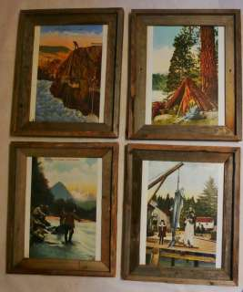 PICTURES 4 RUSTIC WOOD FRAMES FISHING OREGON VINTAGE