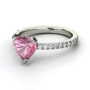 Carina Ring, Heart Pink Tourmaline 14K White Gold Ring