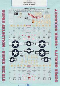 48 SuperScale Decals P 38F P 38G ONeil Summer 48 476 |