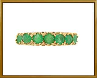 Ladies 10K Solid Yellow Gold Green Emerald Fashion Ring