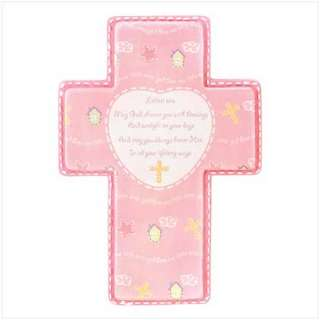 BABY GIRL PRAYER CROSS Pink Poem Nursery Wall Decor NEW