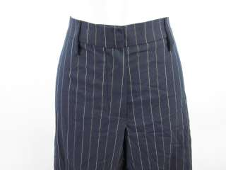 GUNEX Dark Blue Brown White Striped Cotton Pants Sz 8